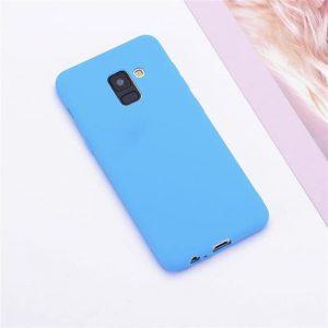 Матовый силиконовый (TPU) чехол (накладка) Samsung A730 Galaxy A8 Plus (2018) (Голубой / Blue)