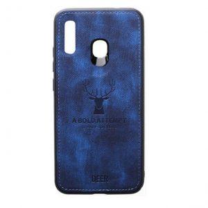 Силиконовый чехол (TPU+экокожа) Deer для Samsung Galaxy A20 2019 / A30 2019 (Синий)