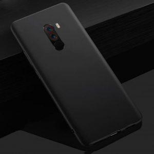 Матовый силиконовый TPU чехол на Xiaomi Pocophone F1 (Черный)