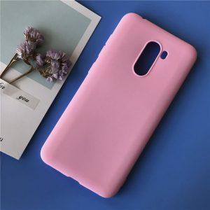 Матовый силиконовый TPU чехол на Xiaomi Pocophone F1 (Розовый)