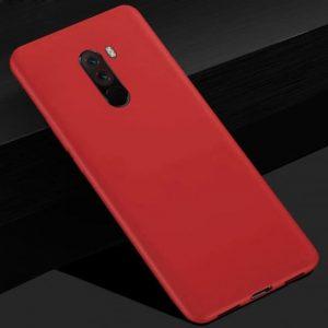 Матовый силиконовый TPU чехол на Xiaomi Pocophone F1 (Красный)