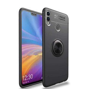 Cиликоновый (TPU) чехол (бампер) ColorRing c кольцом и креплением под магнитный держатель для Huawei Honor 8x (Черный / Black)