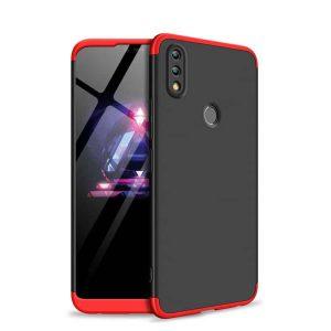 Матовый пластиковый чехол GKK 360 градусов для Huawei Honor 8x (Красный / Черный)