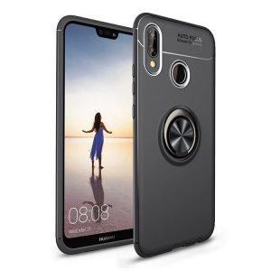 Cиликоновый чехол Deen ColorRing с креплением под магнитный держатель для Huawei Honor 8C (Черный / Black)