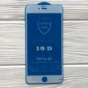 Защитное стекло 10D Full Glue (на весь экран) для Iphone 6 Plus / 6s Plus (Белое / White)