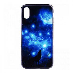 TPU+Glass чехол (накладка) Fantasy с глянцевыми торцами для Iphone X / XS (Moon night)