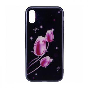 TPU+Glass чехол (накладка) Fantasy с глянцевыми торцами для Iphone X / XS (Tulip)