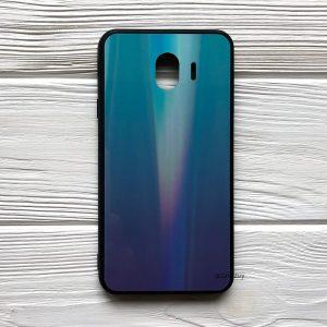 Чехол (накладка) TPU+Glass с градиентом Gradient Aurora для Samsung J400 Galaxy J4 2018 (Зеленый / Фиолетовый)