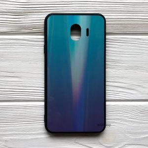 TPU+Glass чехол Gradient Aurora с градиентом  для Samsung J400 Galaxy J4 2018 (Зеленый / Фиолетовый)