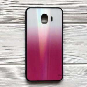 Чехол (накладка) TPU+Glass с градиентом Gradient Aurora для Samsung J400 Galaxy J4 2018 (Белый / Розовый)