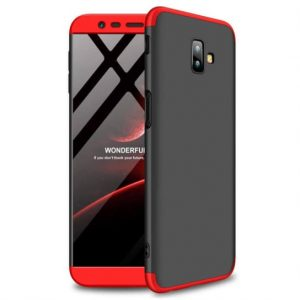 Матовый пластиковый чехол GKK 360 градусов для Samsung J610 Galaxy J6 Plus (Черный / Красный)