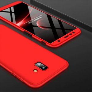 Матовый пластиковый чехол GKK 360 градусов для Samsung J610 Galaxy J6 Plus (Red)