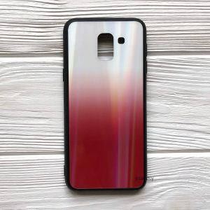 Чехол (накладка) TPU+Glass с градиентом Gradient Aurora для Samsung J600 Galaxy J6 2018 (Красный / Red)