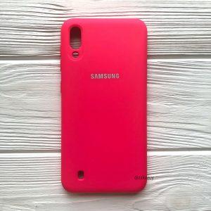 Оригинальный матовый силиконовый чехол (Silicone Cover) 360 для Samsung M10 (Ярко-розовый)