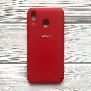 Оригинальный чехол Silicone Cover 360 с микрофиброй для Samsung M20 (Красный)