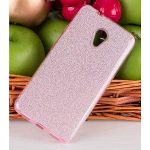 Cиликоновый (TPU+PC) чехол (накладка) Shine с блестками для Meizu M5s (Розовый / Pink)