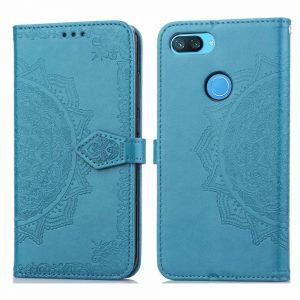Кожаный чехол-книжка Art Case с визитницей для Xiaomi Mi 8 Lite (Голубой / Blue)
