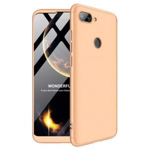 Матовый пластиковый чехол GKK 360 градусов для Xiaomi Mi 8 Lite (Золотой)