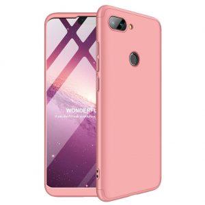 Матовый пластиковый чехол GKK 360 градусов для Xiaomi Mi 8 Lite (Розовый)