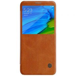 Коричневый кожаный чехол-книжка Nillkin Qin Series для Xiaomi Redmi Note 5 / 5 Pro (Коричневый / Brown)