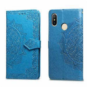 Кожаный чехол-книжка Art Case с визитницей для Xiaomi Redmi Note 6 / 6 Pro (Синий / Blue)