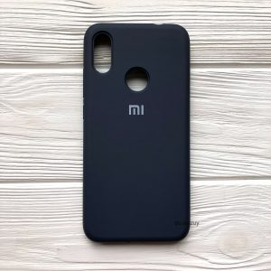 Оригинальный чехол Silicone Cover 360 с микрофиброй для Xiaomi Redmi 7 (Темно-синий)