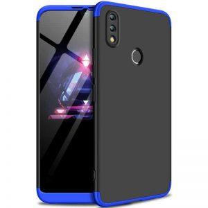 Матовый пластиковый чехол GKK 360 градусов для Huawei P Smart 2019 / Honor 10 Lite (Черный / Синий)