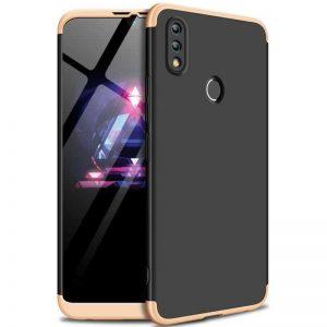 Матовый пластиковый чехол GKK 360 градусов для Huawei P Smart 2019 / Honor 10 Lite (Черный / Золотой)