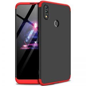 Матовый пластиковый чехол GKK 360 градусов для Huawei P Smart 2019 / Honor 10 Lite (Черный / Красный)
