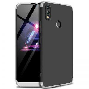 Матовый пластиковый чехол GKK 360 градусов для Huawei P Smart 2019 / Honor 10 Lite (Черный / Серебряный)