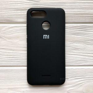Оригинальный матовый силиконовый чехол (Silicone Cover) 360 для Xiaomi Redmi 6 (Черный / Black)