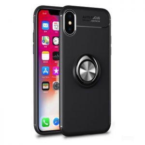 Cиликоновый (TPU) чехол (бампер) ColorRing c кольцом и креплением под магнитный держатель для Iphone X / XS (Черный / Black)