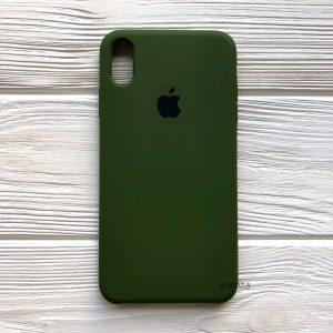 Оригинальный чехол Silicone Case с микрофиброй для Iphone XS Max №48 (Хаки / Khaki)