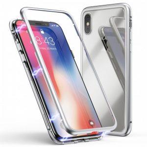 Магнитный противоударный чехол (бампер) 360 градусов защиты для Iphone XS Max (Серебряный / Silver)