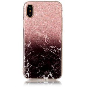 Cиликоновый (TPU) чехол (накладка) OMEVE Stone для Iphone X / XS (Розовый мрамор)