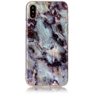 Cиликоновый (TPU) чехол (накладка) OMEVE Stone для Iphone X / XS (Темный мрамор)