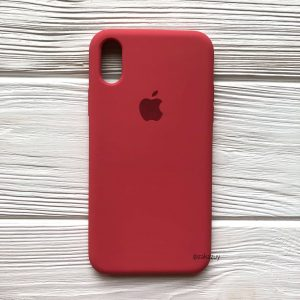 Оригинальный чехол Silicone Case с микрофиброй для Iphone XS Max №24 (Rouge)