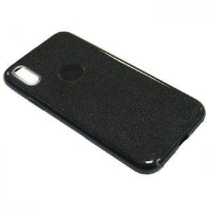 Cиликоновый (TPU+PC) чехол (накладка) Shine с блестками для Iphone X / XS (Серый / Grey)