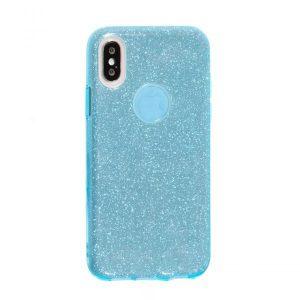Cиликоновый (TPU+PC) чехол (накладка) Shine с блестками для Iphone X / XS (Голубой / Blue)