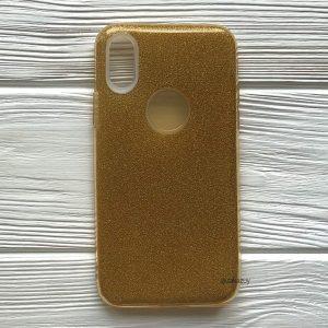 Cиликоновый (TPU+PC) чехол (накладка) Shine с блестками для Iphone X / XS (Золотой / Gold)