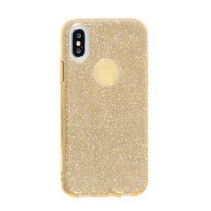Cиликоновый (TPU+PC) чехол (накладка) Shine с блестками для Iphone X / XS (Светло-золотой)