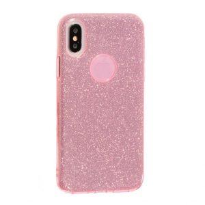 Cиликоновый (TPU+PC) чехол (накладка) Shine с блестками для Iphone X / XS (Розовый / Pink)