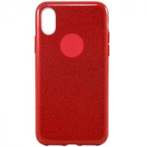Cиликоновый (TPU+PC) чехол (накладка) Shine с блестками для Iphone X / XS (Красный / Red)