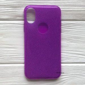 Cиликоновый (TPU+PC) чехол (накладка) Shine с блестками для Iphone X / XS (Фиолетовый / Violet)