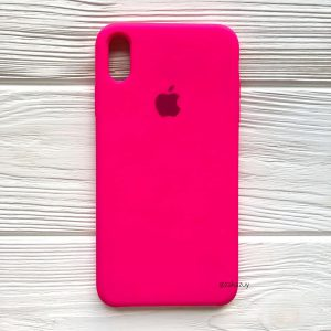 Оригинальный чехол Silicone Case с микрофиброй для Iphone XS Max №47 (Ultra Pink)