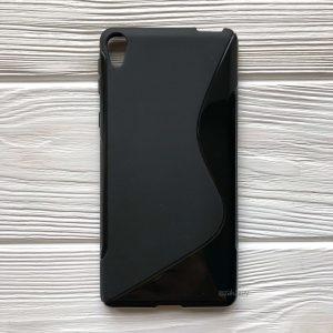Силиконовый чехол (накладка) с глянцевой вставкой для Sony Xperia XA / XA Dual (Черный / Black)