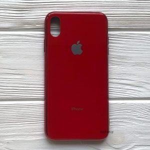 TPU+Glass чехол Glass Case зеркальный для Iphone XS Max (Красный / Red)