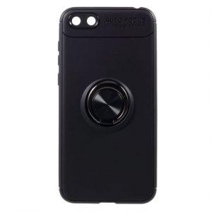 Cиликоновый чехол Deen ColorRing с креплением под магнитный держатель для Huawei Y5 2018 / Y5 Prime 2018 / Honor 7A (Черный / Black)