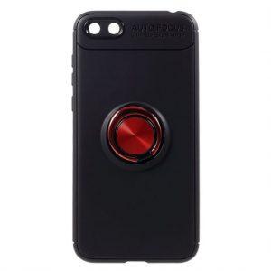 Cиликоновый чехол Deen ColorRing с креплением под магнитный держатель для Huawei Y5 2018 / Y5 Prime 2018 / Honor 7A (Красный / Red)