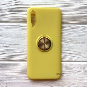 Cиликоновый чехол Summer ColorRing c креплением под магнитный держатель для Samsung A705 Galaxy A70 2019 (Желтый)